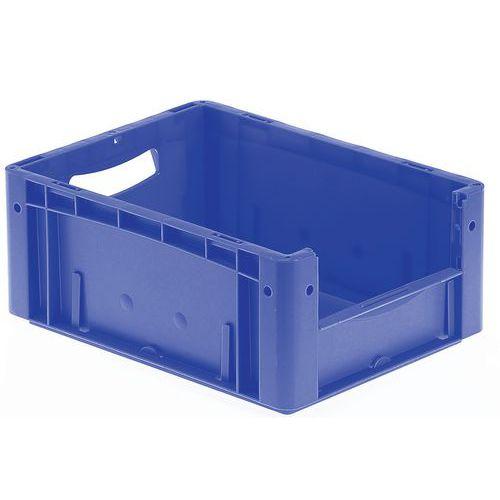 Muovilaatikko sininen, puoliksi auki oleva etuosa