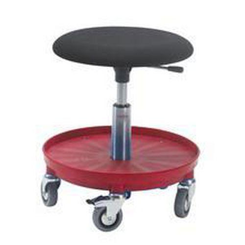 Pyörällinen tuoli, matala, verhoillulla istuimella