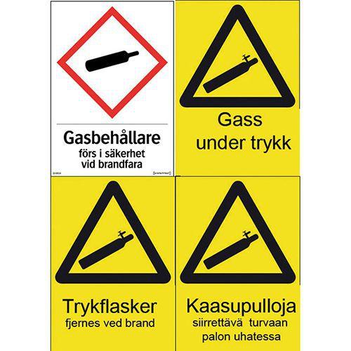 Jälkivalaisevat  kaasupullojen varoituskilvet